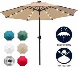 Sunnyglade 9' Solar 24 LED Lighted Patio Umbrella with 8 Rib