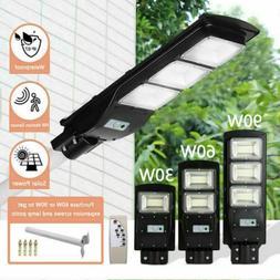 90W Powered Solar LED Street Light Dusk To Dawn Outdoor Comm