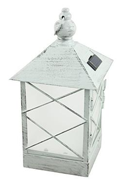 Moonrays 91165 Solar Powered White Washed Metal Lantern Ambe