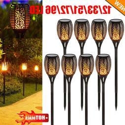 96 LED Solar Torch Light Flickering Dancing Flame Garden Wat
