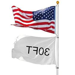 30 ft Aluminum Telescopic Flag Pole 6 sections 16 Gauge Rust