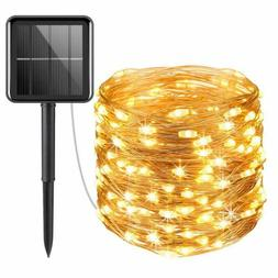 Upgraded Solar Powered String Lights, 100 Led Copper Wire Li