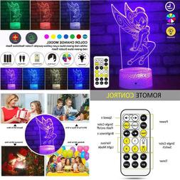 TOORGGOO Angel 3D Optical Illusion Kids Night Light 7 Color