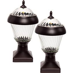 2 Pack GreenLighting Bahama 20 Lumen High End Solar Post Cap