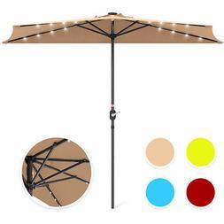 BCP 8.5ft Outdoor Solar LED Half Patio Umbrella w/ Easy Cran