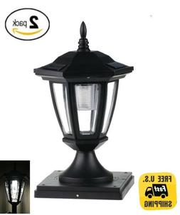 Set of 2 Black Solar Hexagon Cap Lights With White LEDS for