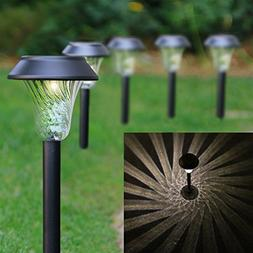 Enchanted Spaces Black Solar Path Light, Set of 6, with Glas