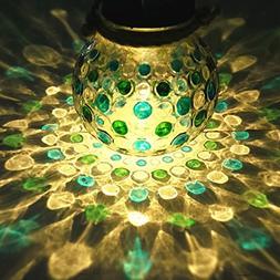 Sogrand Blue Green Diamond Solar Glass Jar,Solar Lights Outd