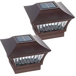 GreenLighting Bronze Aluminum Solar Post Cap Light 4x4 Wood