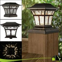 "BRONZE SOLAR LED DECK POST CAP LIGHT 4""x4"" 6""x6"" Garden Pati"