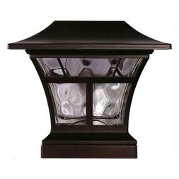 "BRONZE SOLAR LED DECK POST CAP LIGHT 4""x4"" 6""x6"" Outdoor Gar"