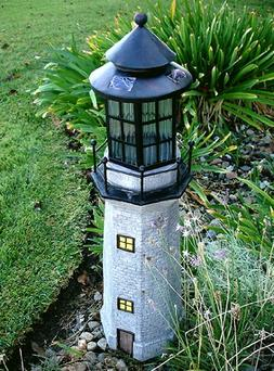 Garden Sunlight C5116 Solar Lighthouse Garden Decor, Gray, A