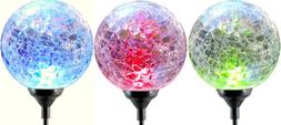 Moonrays LED Solar Path Lights In Glass Ball Design With Col