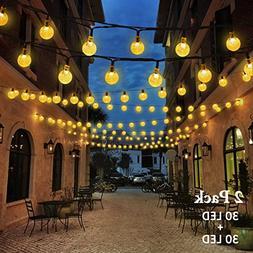 VMANOO Christmas Solar Powered Globe Lights,30 LED  Globe Ba