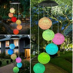 Color-Changing LED Solar Mobile Spiral Spinner Wind Chime Ou