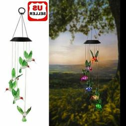 Color-Changing LED Solar Powered Hummingbird Wind Chime Ligh