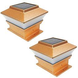 iGlow 2 Pack Copper Outdoor Garden 4 x 4 Solar LED Post Deck