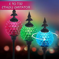 Crackle Ball Solar Lights with Spinning Glass & Decorative C