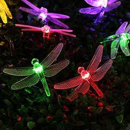 Qedertek Dragonfly Solar String Lights, 15.7ft 20 LED Fairy