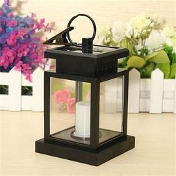 Garden LED Black Solar Powered Candle Outdoor Table Top Lant