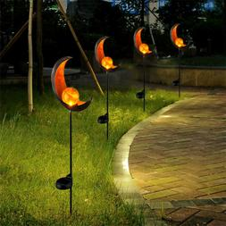 Garden Solar Lights Pathway Outdoor Moon Crackle Glass Globe
