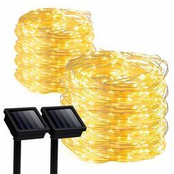 GIGALUMI 2 Pack Solar Strings Lights, 39 Feet 100 LED Solar