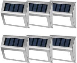 Gigalumi 6 Pack Solar Deck Lights,3 Led Solar Stair Lights O