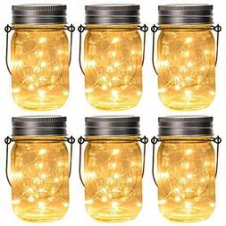 GIGALUMI Hanging Solar Mason Jar Lid Lights, 6 Pack 15 Led S