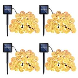 Qedertek 4 Pack Globe Outdoor Solar String Lights, 20ft 30 L