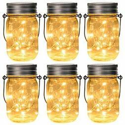 GIGALUMI Hanging Solar Mason Jar Lid Lights 6 Pack 30 Led St