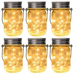 GIGALUMI Hanging Solar Mason Jar Lid Lights, 6 Pack 15 Led S