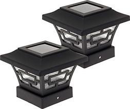 Hilltop 20 Lumens Solar Fence Post Cap Lights For 4x4 Wood Posts Black, Pack /&