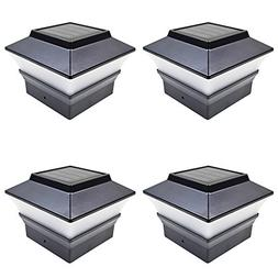 iGlow 4 Pack Black Outdoor Garden 4 x 4 Solar LED Post Deck