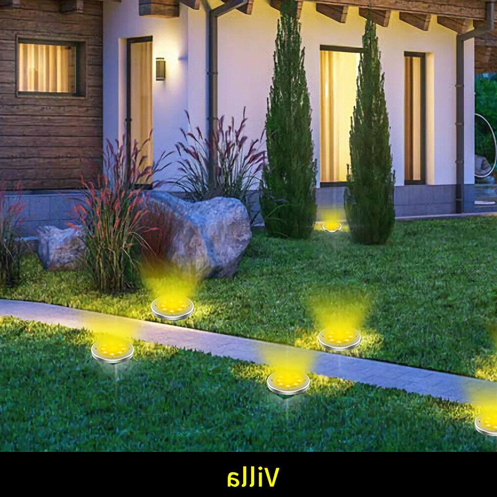 1/2/4Pack LED Powered Disk Lights In-Ground Buried
