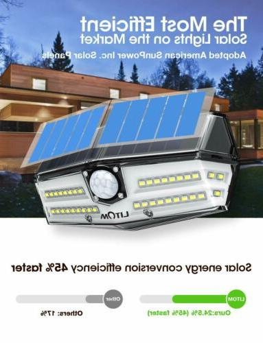 1-4 Pack LITOM Premium 40 LED Solar Lights Outdoor 270