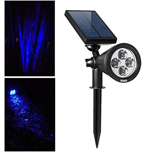 AMIR Solar Solar Garden Lights Waterproof 4 Adjustable Solar with On/ for Yard Driveway Pathway Pool Tree Patio
