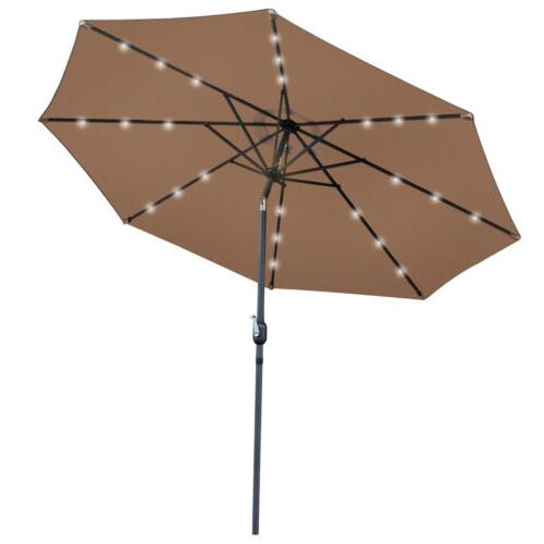 10 FT Patio Solar Umbrella and Crank