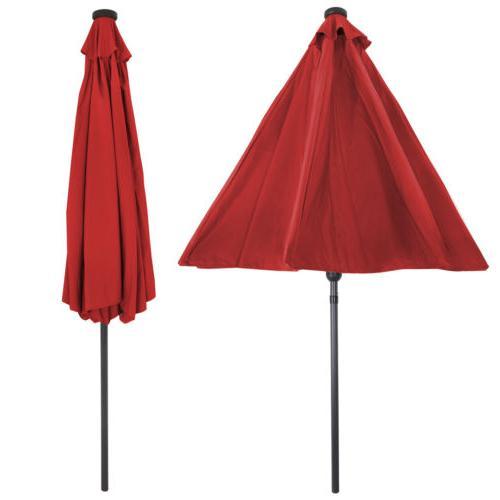 10' LED Lighted Umbrella Sun Shade Offset Red