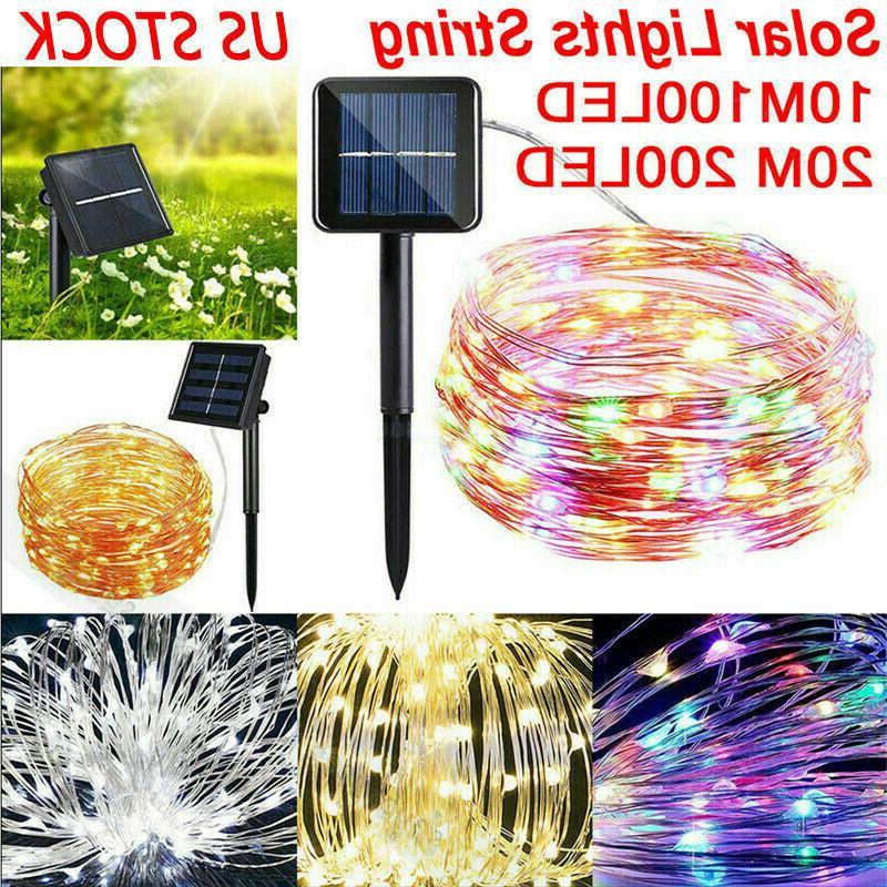 100 200 led solar power fairy lights