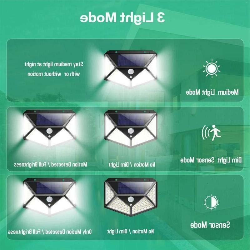 100 PIR Motion Sensor Wall Solar Power Outdoor Garden Lamp