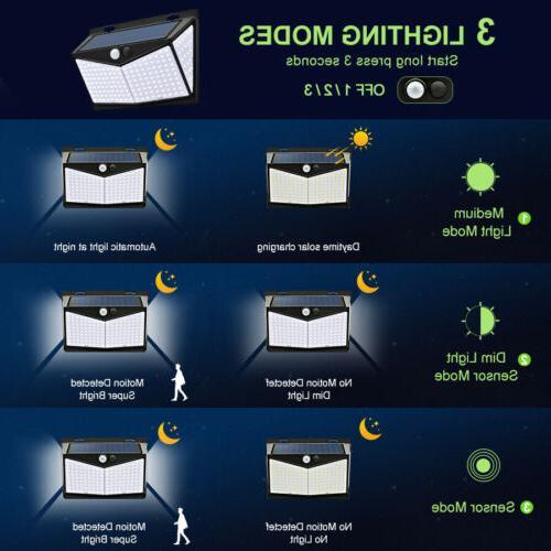 208 LED Solar Light PIR Motion Security Garden Lamp US