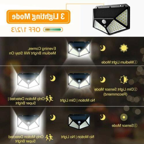100 LED Solar Powered Light Motion Sensor Wall Lamps