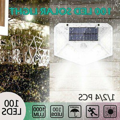 100LED Solar Powered Wall Light Motion Garden Yard