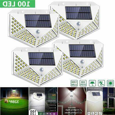 100led solar powered wall light motion sensor