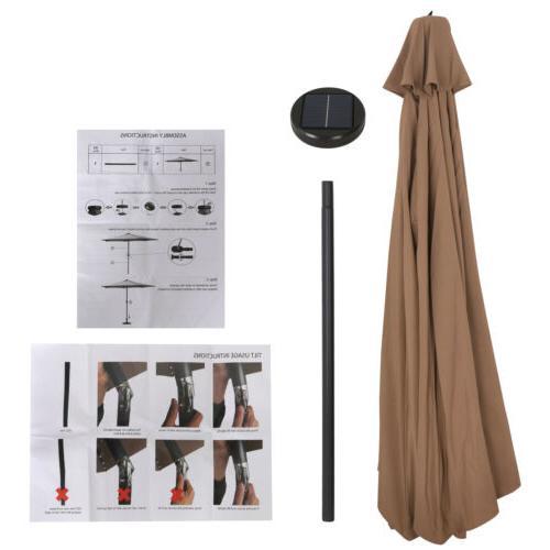 10FT LED Lights Umbrella W/ Tilt Adjustment - Tan