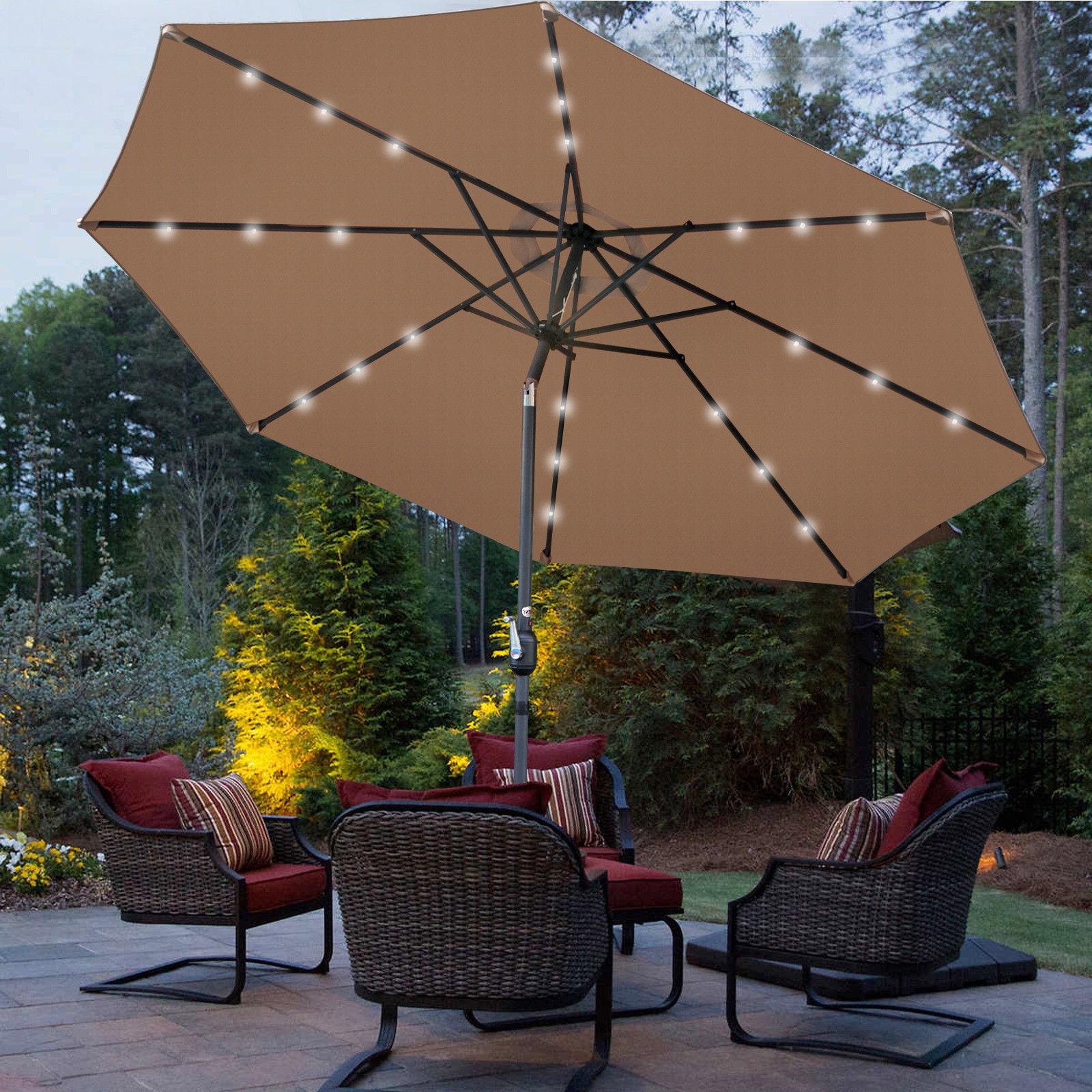 10Ft Lighted Patio Table 8 Ribs Tan