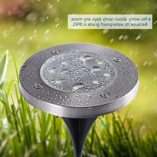 10Pcs 8 LED Disk Lights Ground Garden Deck Outdoor IP65