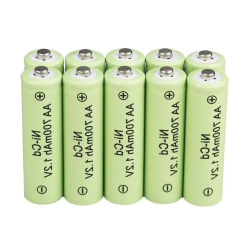 10x AA 700mAh 1.2V Rechargeable Battery Ni Cd Ni-Cd for Gard