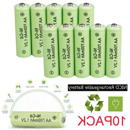 10pcs aa rechargeable battery nicd 700mah 1