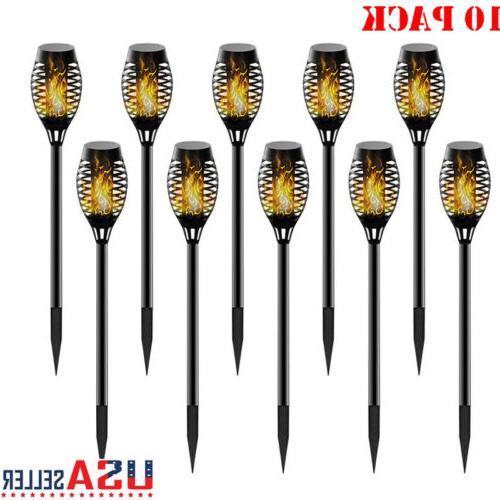 10pcs flame solar torch light waterproof flickering